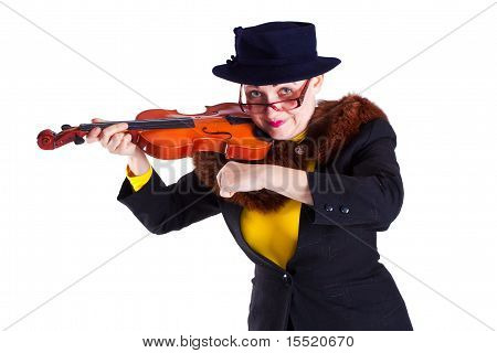 A Girl Dressed As An Elderly Old Lady Playing The Violin