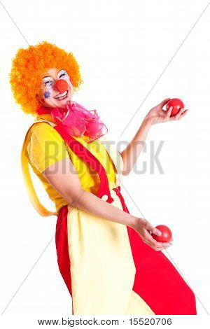Girl Dressed As A Clown Juggling