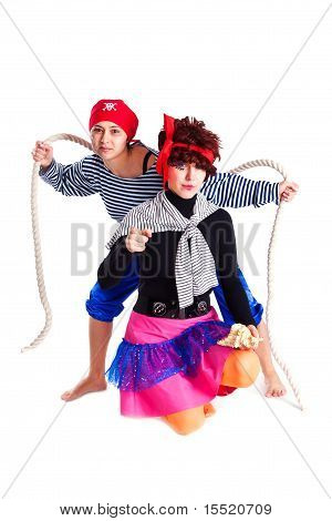 Two Girls Dressed As Pirates