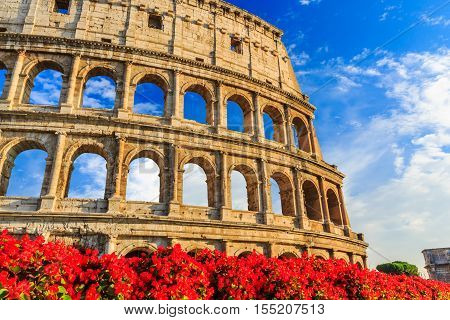 Detail of the Colosseum in Rome Italy