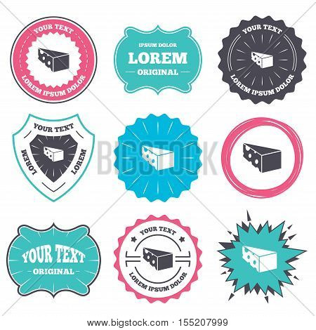 Label and badge templates. Cheese sign icon. Slice of cheese symbol. Triangle cheese with holes. Retro style banners, emblems. Vector