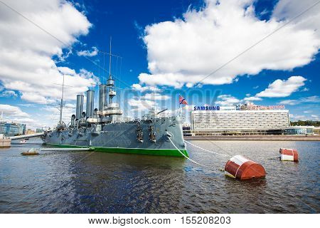 cruiser Aurora on the Neva River in St. Petersburg24.09.2016 Russia