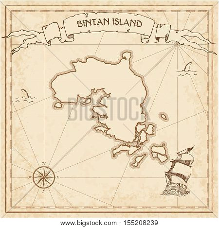 Bintan Island Old Treasure Map. Sepia Engraved Template Of Pirate Island Parchment. Stylized Manuscr