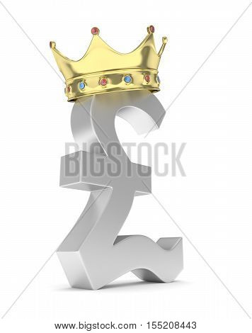 Isolated silver pound sign with golden crown on white background. British currency. Concept of investment, european market, savings. Power, luxury and wealth. Great Britain, Nothern Ireland. Crown with gems. 3D rendering.