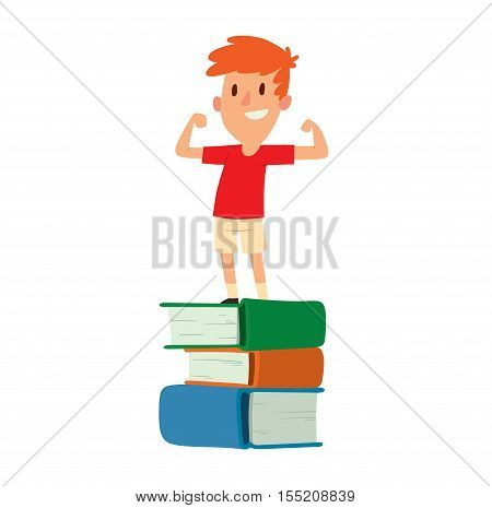 Young boy staying on books uniform academic look smart studying vector. Concept of knowledge boy stay on books caucasian kid. Small learn boy stay on books learning elementary school people character.