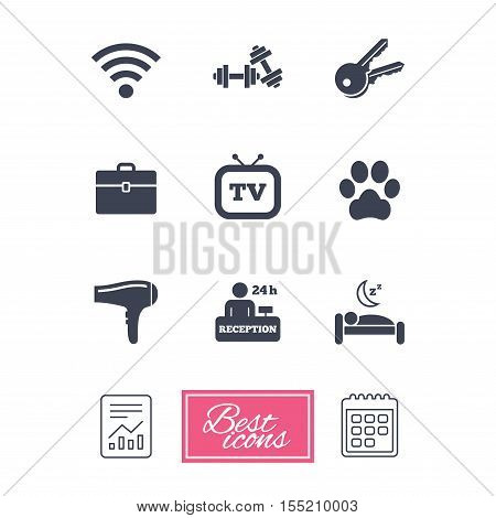 Hotel, apartment service icons. Wi-fi internet. Reception, pets allowed and hairdryer symbols. Report document, calendar icons. Vector