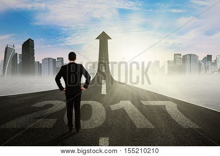 Back view of businessman looking at a road with an upward arrow while standing on the road with number 2017