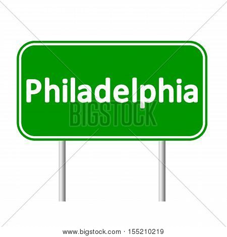 Philadelphia green road sign isolated on white background