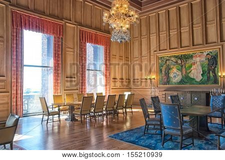 OSLO, NORWAY - APRIL 12, 2010: The City Hall Building interior. The Edvard Munch room. Munch was Norwegian painter and printmaker (1863-1944)