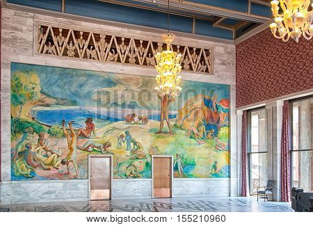 OSLO, NORWAY - APRIL 12, 2010: City Hall Building interior. Fragment of The Banquet Hall. Willy Midelfart painting inspired by the Oslo fjord