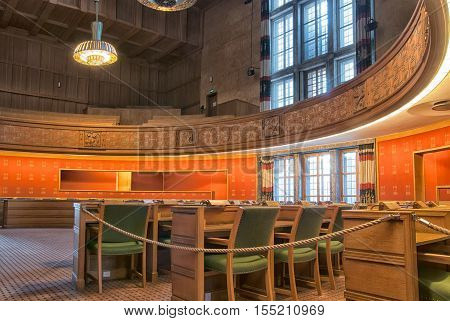 OSLO, NORWAY - APRIL 12, 2010: The City Hall Building interior. Fragment of The Council Chamber.