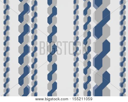 two twisted along abstract depth field blue white background 3d render rendering
