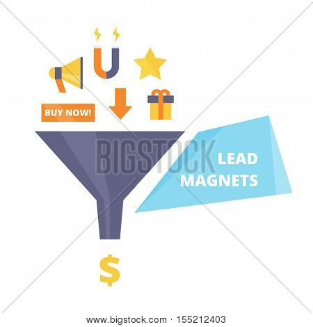 Lead Magnets vector illustration. Goods traps attract customers in sales funnel. Lead magnets concept in flat style.