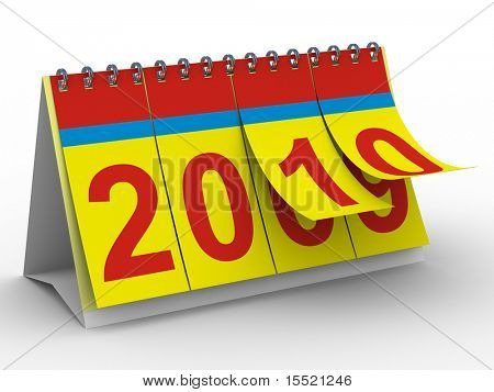 2010 year calendar on white backgroung. Isolated 3D image