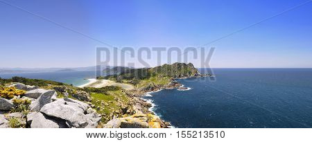 Cies Islands National Park Maritime-Terrestrial of the Atlantic Islands of Galicia Spain.