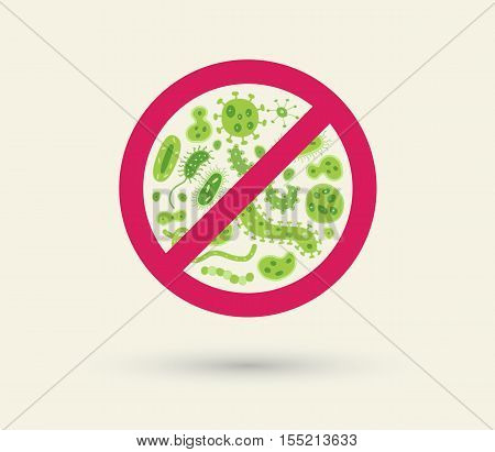Antibacterial sign with green bacteria illustrations. Isolated vector illustration