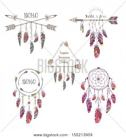 Set of Boho Style Design for T-shirt, Tattoo and Decoration. Abstract Frame with Bird Feather and Arrow . Dream Catcher.