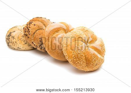 cooked Kaiser bun on a white background