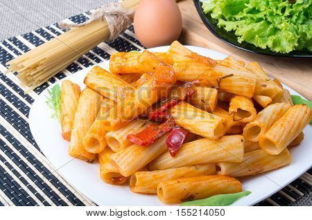 Dish Of Rigatoni Pasta With Vegetable Sauce