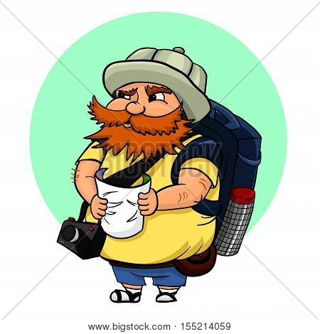 Vector illustration of typical tourist with map camera and with a big backpack. A red-haired man in a touristic hat searching some landmark