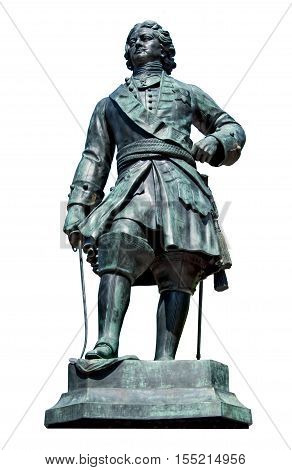 Monument to Peter I or Peter the Great, tsar of Russia and first russian Emperor. Isolated on white