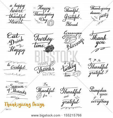 Big set of Thanksgiving hand lettering calligraphy design elements isolated on white background. Handwritten phrases on Thanksgiving theme in modern black brush pen style. Vector illustration. Set 2.