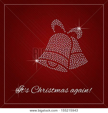 Christmas greeting card poster. Shimmering diamond luxury Christmas Jingle bells. Brilliant stones template. Fashion ornament crystal precious silver applique rhinestones embroidery. Vector.