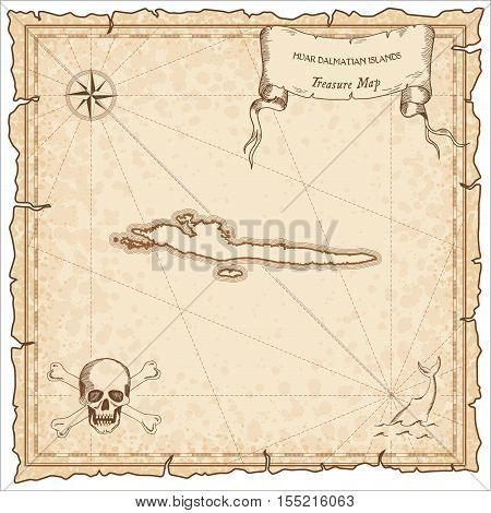 Hvar & Dalmatian Islands Old Pirate Map. Sepia Engraved Parchment Template Of Treasure Island. Styli