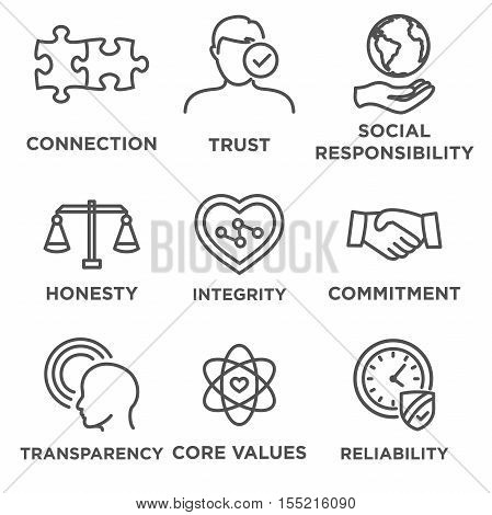 Business Ethics Icon Set with social responsibility corporate core values reliability transparency etc