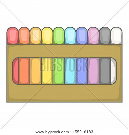 Colored pastel crayon set icon. Cartoon illustration of crayon set vector icon for web design