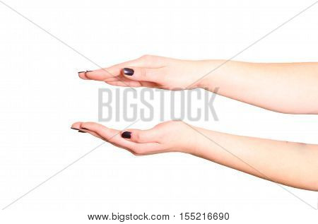 Empty open hand isolated on white background.