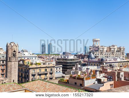 Panoramic Cityscape of Barcelona from the roof of Cathedral of the Holy Cross and Saint Eulalia . Aerial view. Spain.