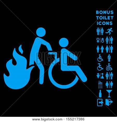 Fire Patient Evacuation icon and bonus male and female toilet symbols. Vector illustration style is flat iconic symbols, blue color, black background.