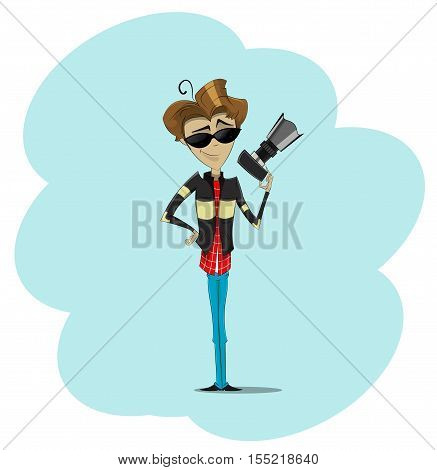 Handsome young photographer holding digital camera and smiling. Cartoon vector illustration