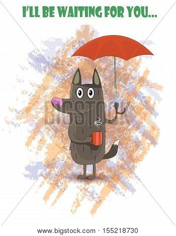 Dog standing under red umbrella on rainy and hold cup of tea. Vector illustration
