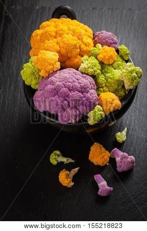 Assortment of organic cauliflower from local market