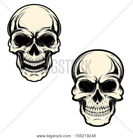 Set of human skulls isolated on white background. Design element for logo, label, emblem, sign, brand mark, t-shirt print. Vector illustration.