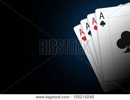 Playing Cards Illustration with Copy Space. Black Poker Cards Background.