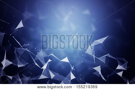 3D Abstract Polygonal Space Blue Background with Connecting Dots and Lines | Network - Data Visualization Illustration