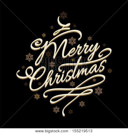 Lettering Merry Christmas on black background with golden snowflakes. Vector illustration