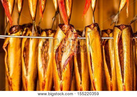Closeup Of Fresh Smoked Fish In Smokehouse