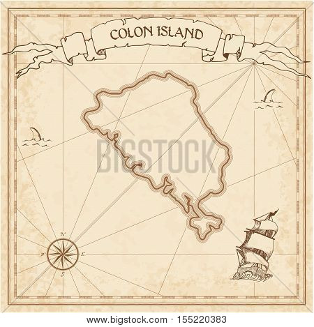 Colon Island Old Treasure Map. Sepia Engraved Template Of Pirate Island Parchment. Stylized Manuscri