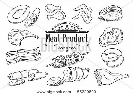 Set hand drawn monochrome icon meat. Decorative meat icons in old style for the design food meat production , brochures, banner, restaurant menu and market