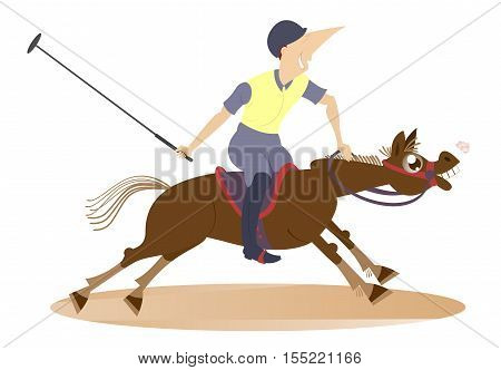 Polo. Man on horse playing polo Illustration