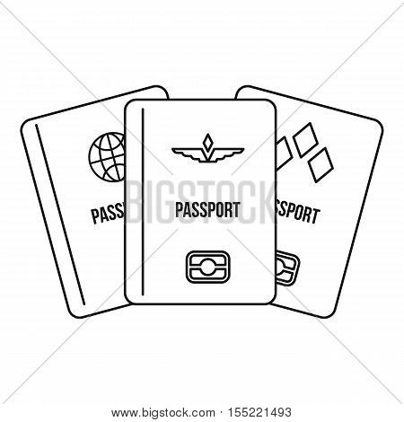 Passports icon. Outline illustration of passports vector icon for web