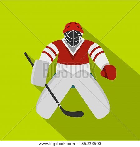 Hockey goalkeeper icon. Flat illustration of hockey goalkeeper vector icon for web design