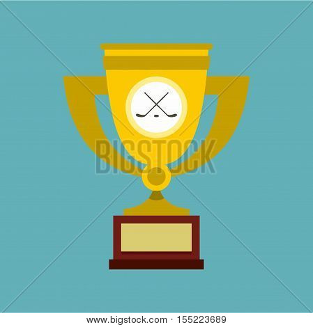 Ice hockey cup icon. Flat illustration of hockey cup vector icon for web design