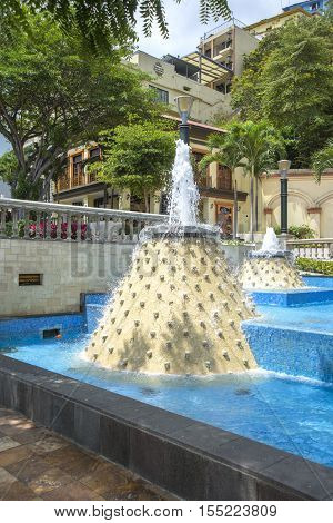 Water fountains in a popular neighborhood in the city of Guayaquil, Ecuador
