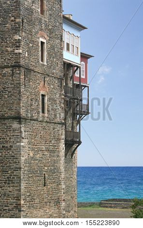 Fragment of the monastery of the Iberian Mother of God on Mount Athos in Greece