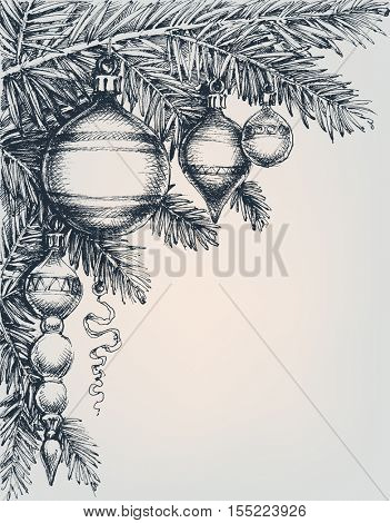 Vintage Christmas and New Year greeting card. Christmas tree and beautiful decorations. Engraving style